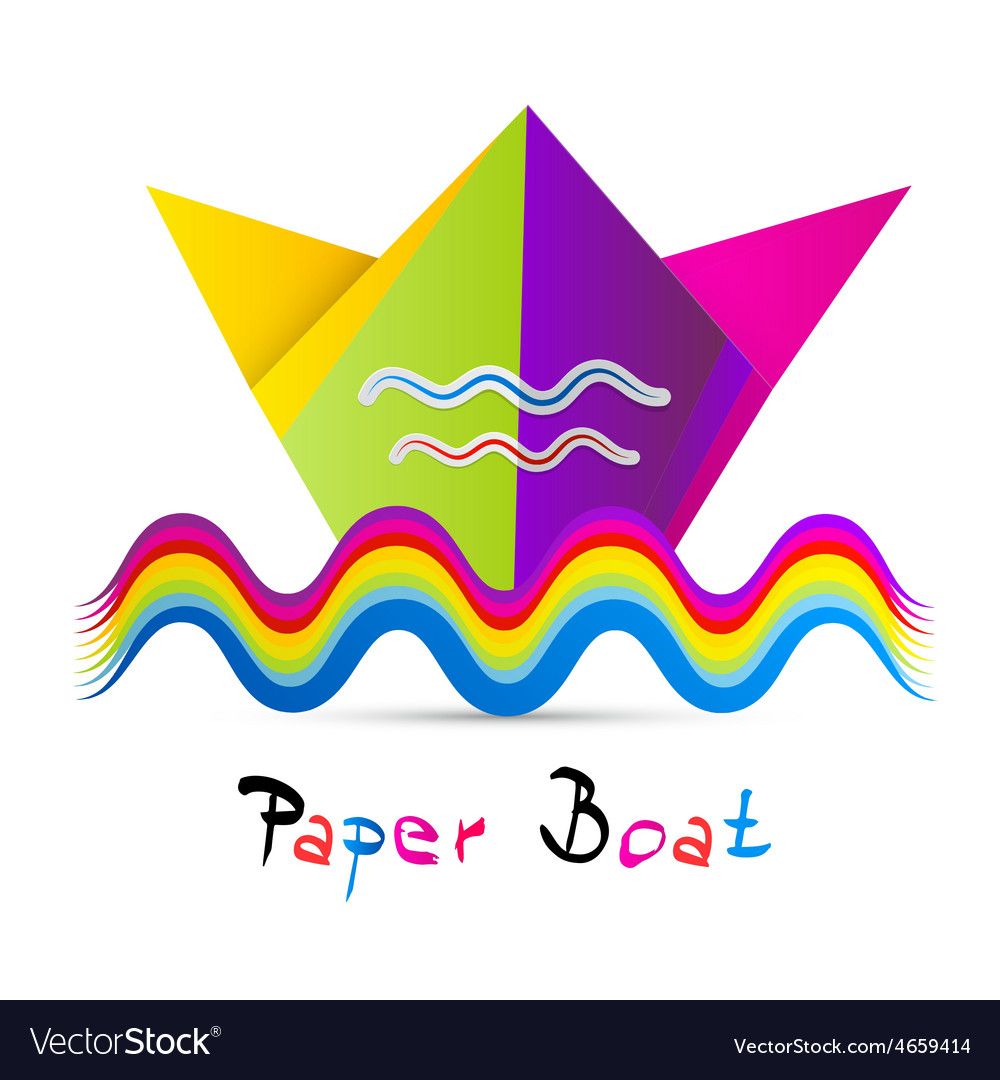 Colorful paper boat isolated on white background vector | Price: 1 Credit (USD $1)