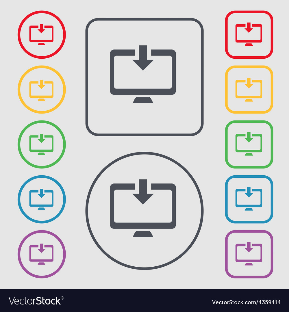 Download load backup icon sign symbol on the round vector | Price: 1 Credit (USD $1)