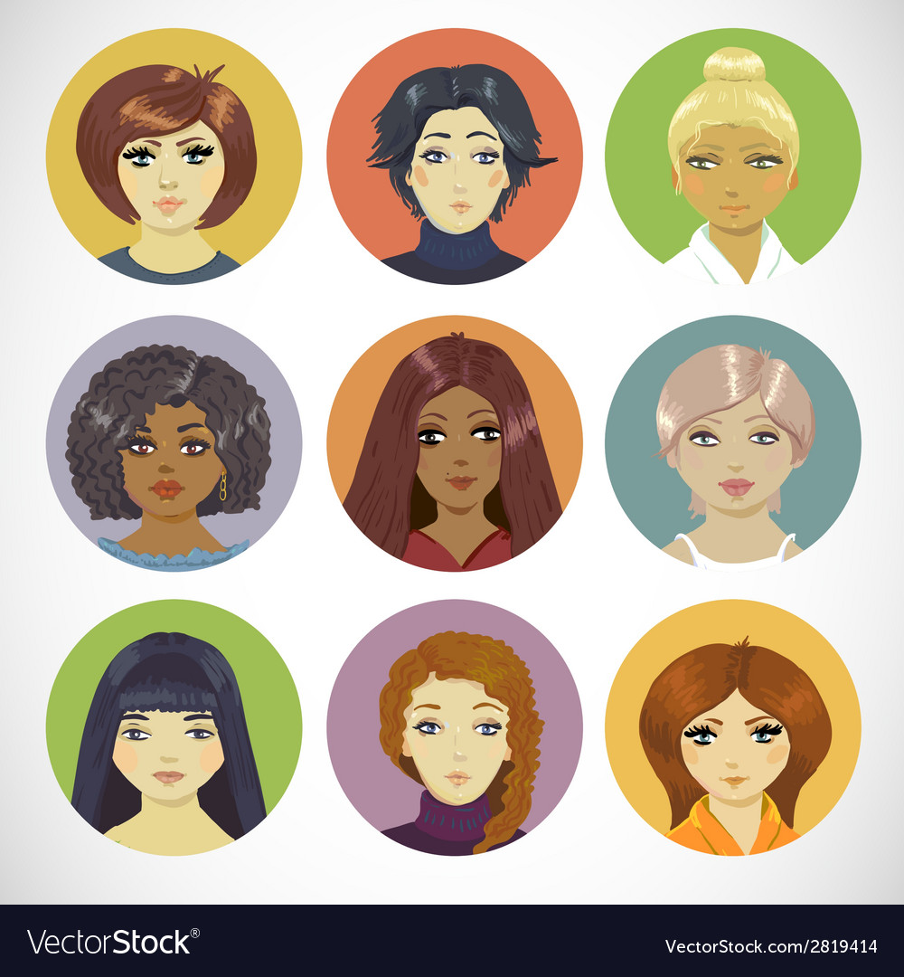 Set of circle female icons vector | Price: 1 Credit (USD $1)