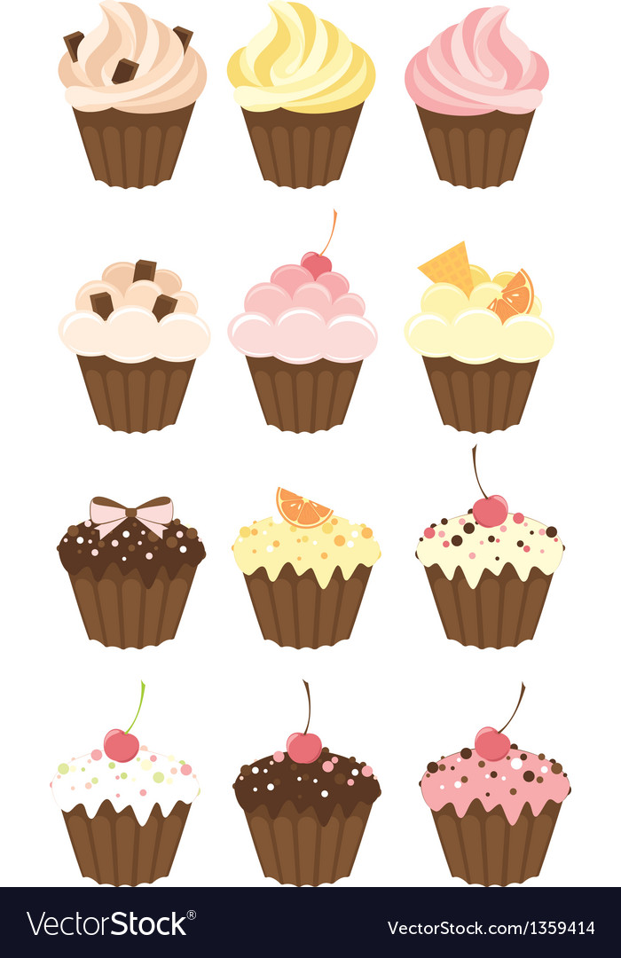 Set of muffins vector | Price: 1 Credit (USD $1)