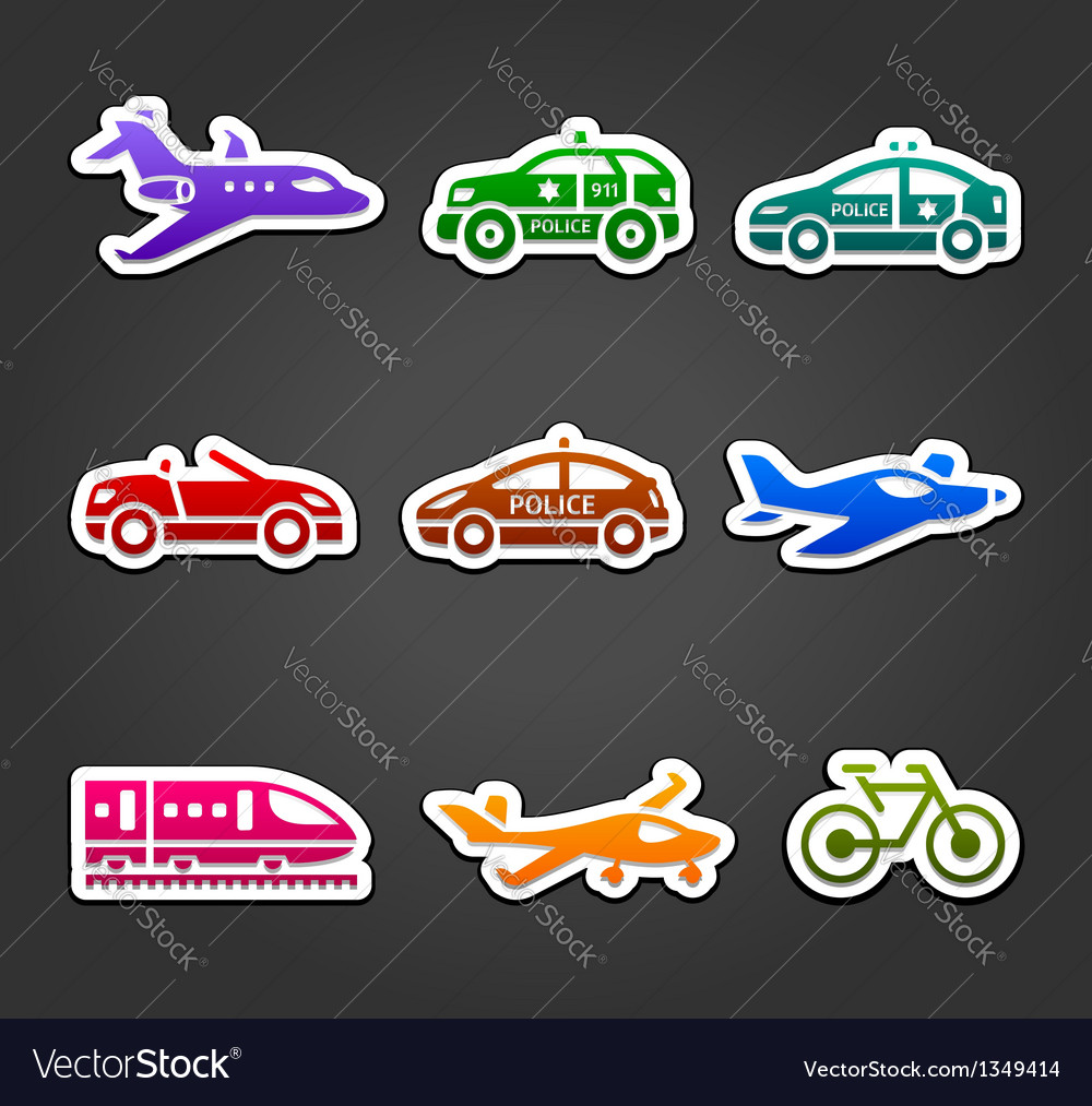 Set of sticky stickers transport color pictograms vector | Price: 1 Credit (USD $1)