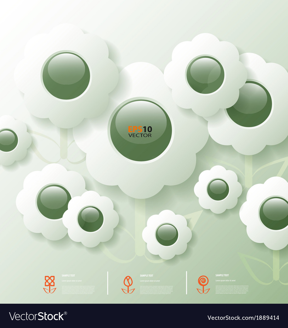 Stylized infographic template with flower bubbles vector | Price: 1 Credit (USD $1)