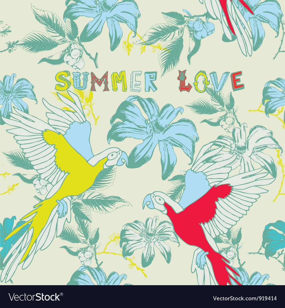Summer floral love background vector | Price: 1 Credit (USD $1)