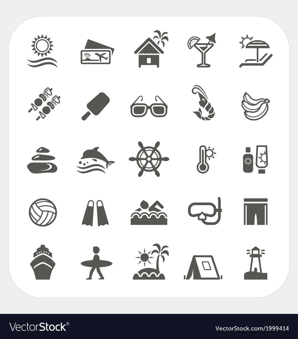Summer holiday icons set vector | Price: 1 Credit (USD $1)