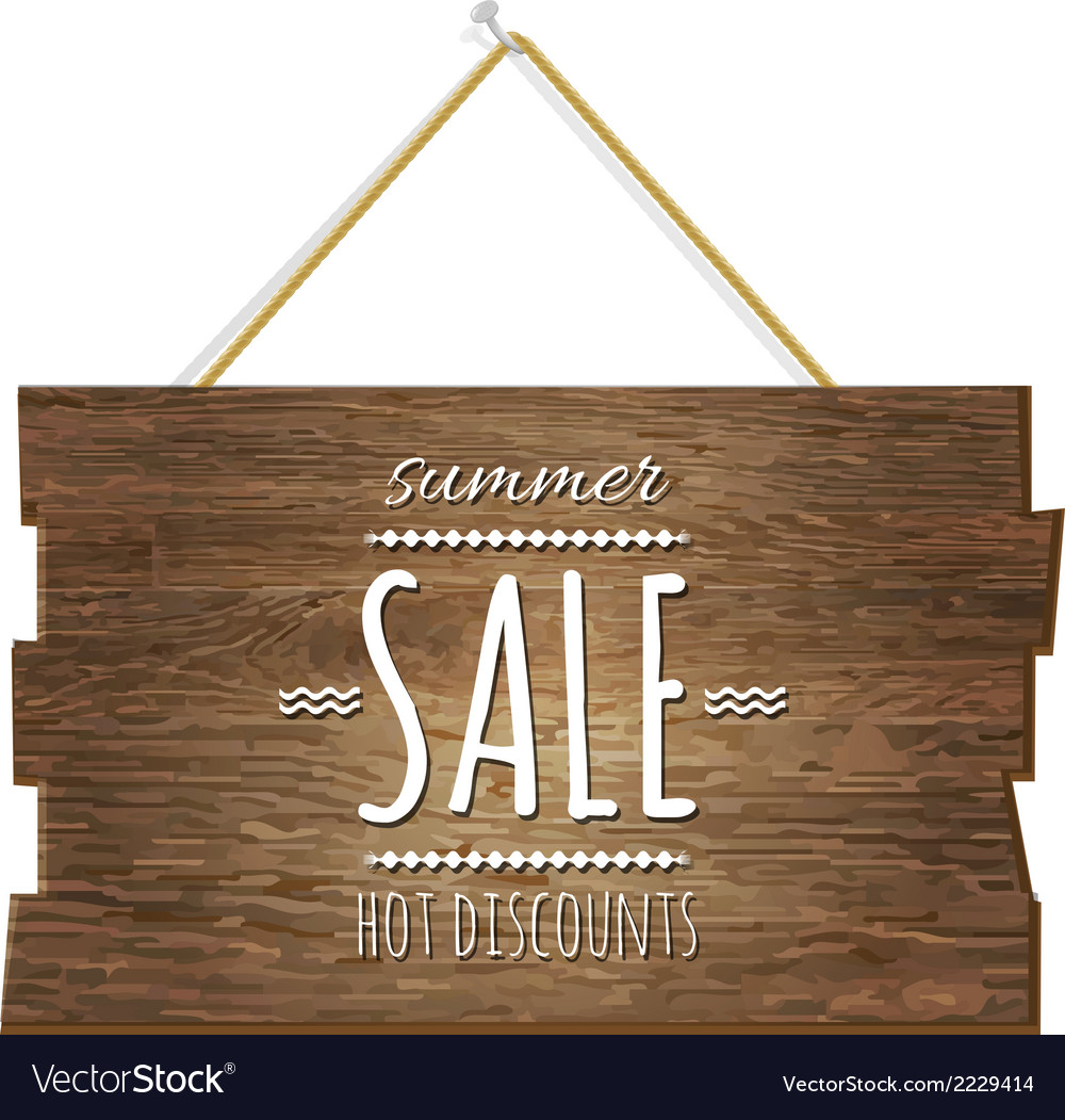 Summer sale wooden board vector | Price: 1 Credit (USD $1)