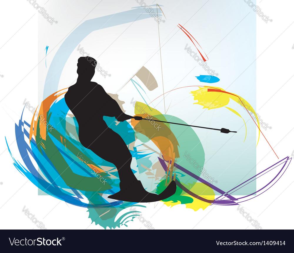 Water skiing man vector   Price: 1 Credit (USD $1)