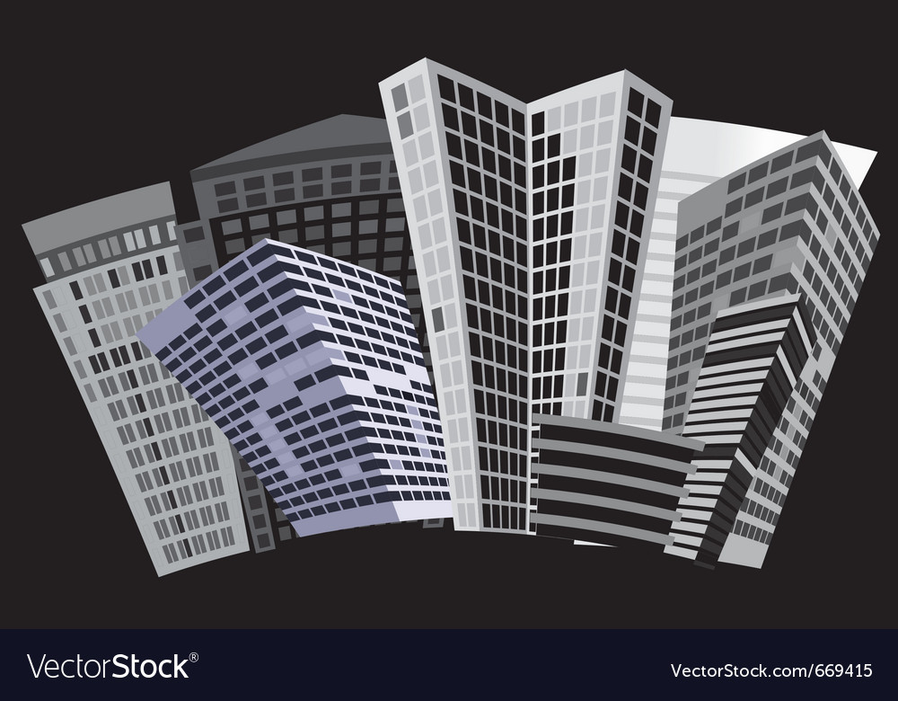Black and white city vector | Price: 1 Credit (USD $1)