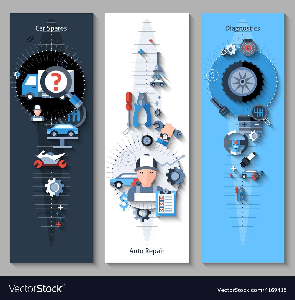 Car repair banners vertical vector | Price: 3 Credit (USD $3)
