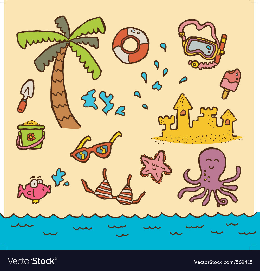 Doodle beach vector | Price: 1 Credit (USD $1)