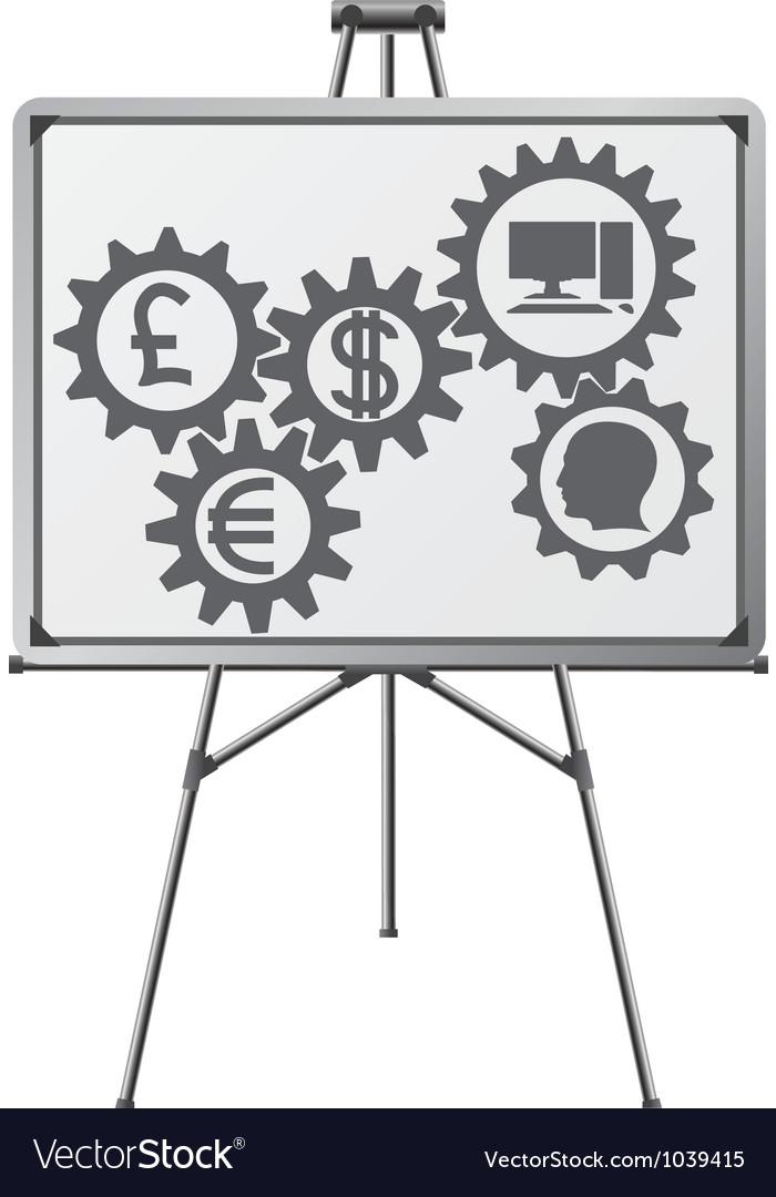 Gear of business in easel vector | Price: 1 Credit (USD $1)