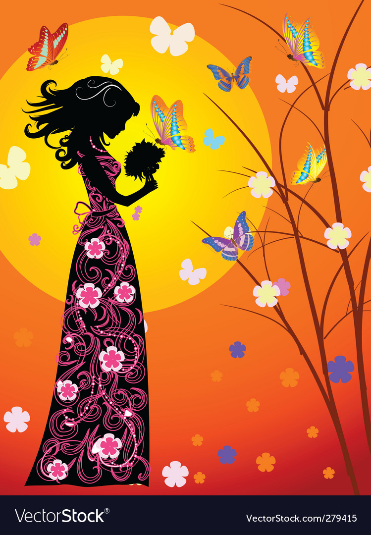 Girl and butterfly vector | Price: 1 Credit (USD $1)