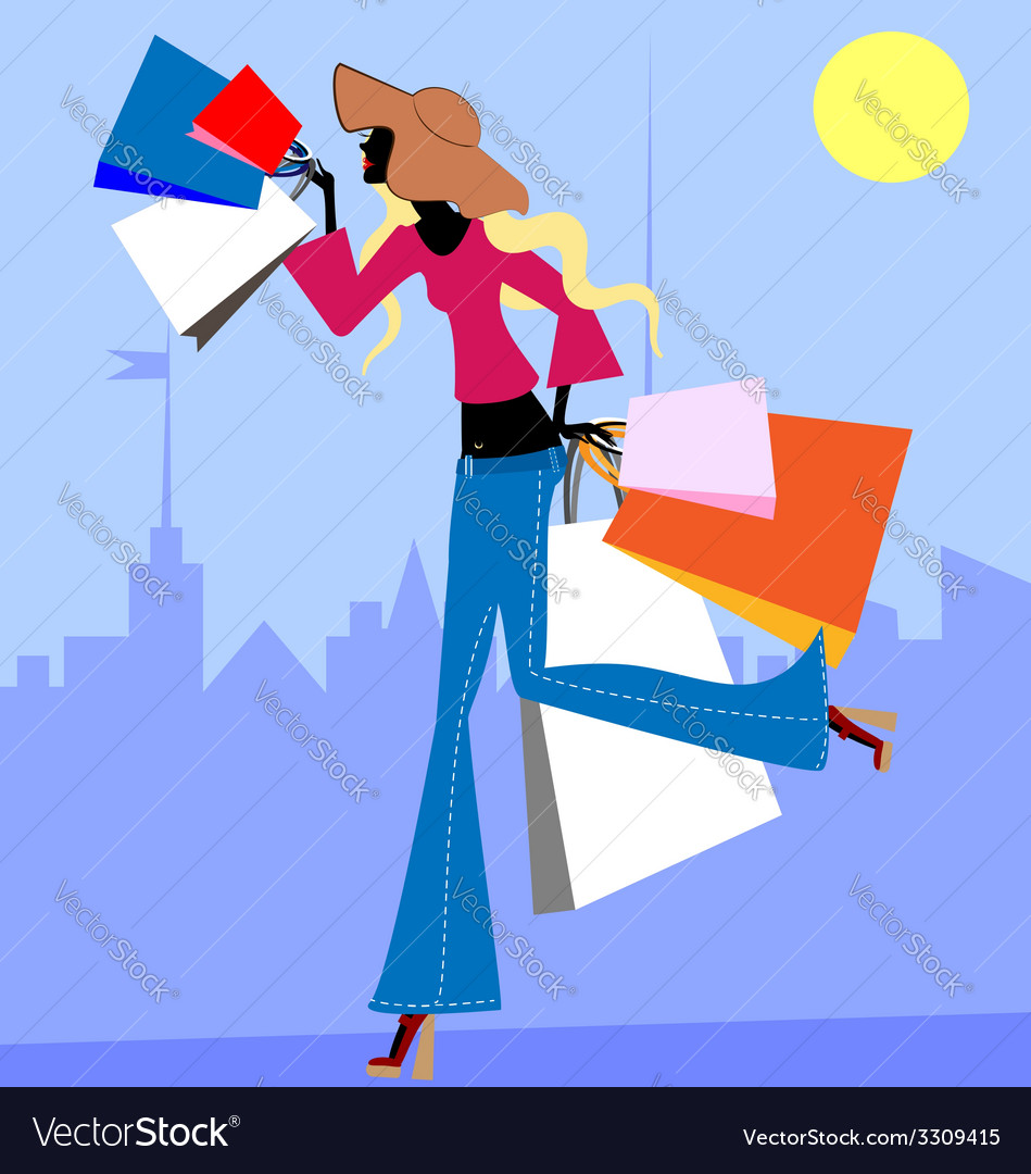 Girl with bags vector   Price: 1 Credit (USD $1)