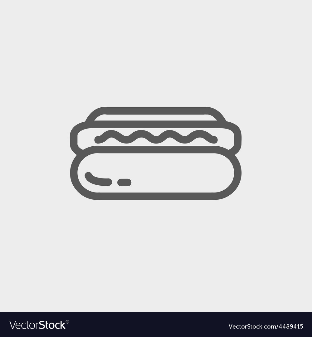 Hotdog sandwich thin line icon vector | Price: 1 Credit (USD $1)