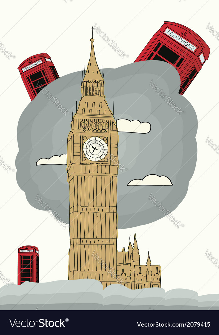 London with big ben vector | Price: 1 Credit (USD $1)