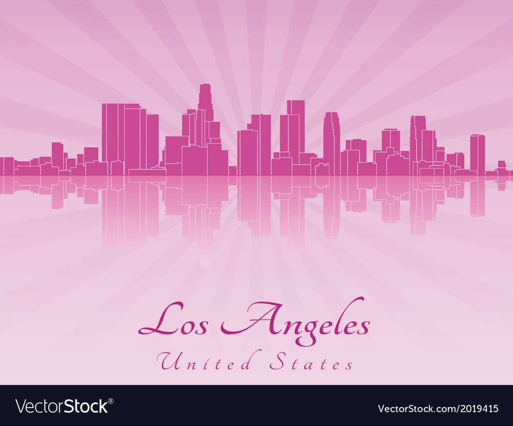 Los angeles skyline in purple radiant orchid vector | Price: 1 Credit (USD $1)