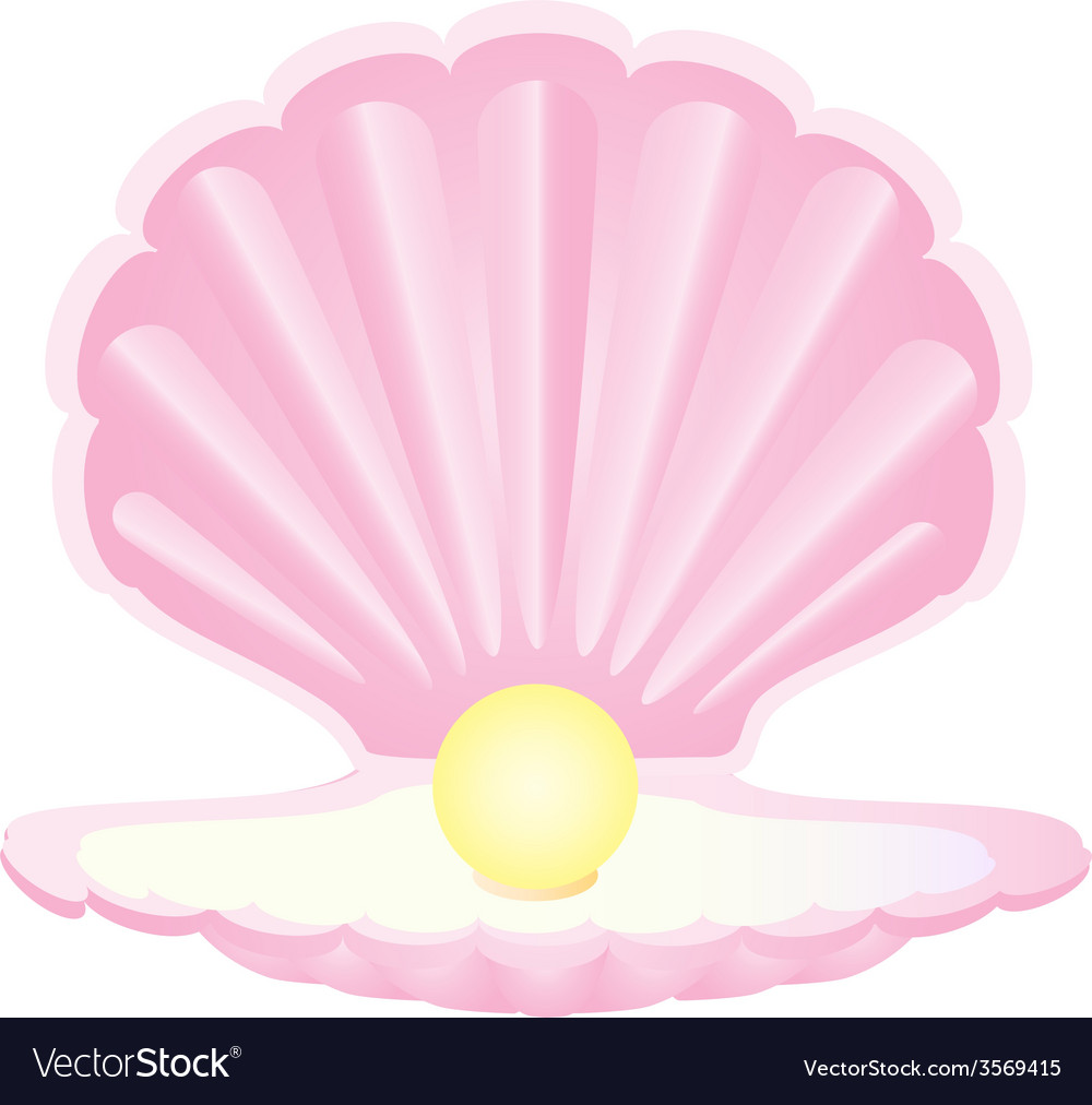 Pink seashell with pearl vector | Price: 1 Credit (USD $1)