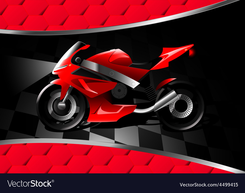 Red motor bike at night on textured background vector | Price: 1 Credit (USD $1)