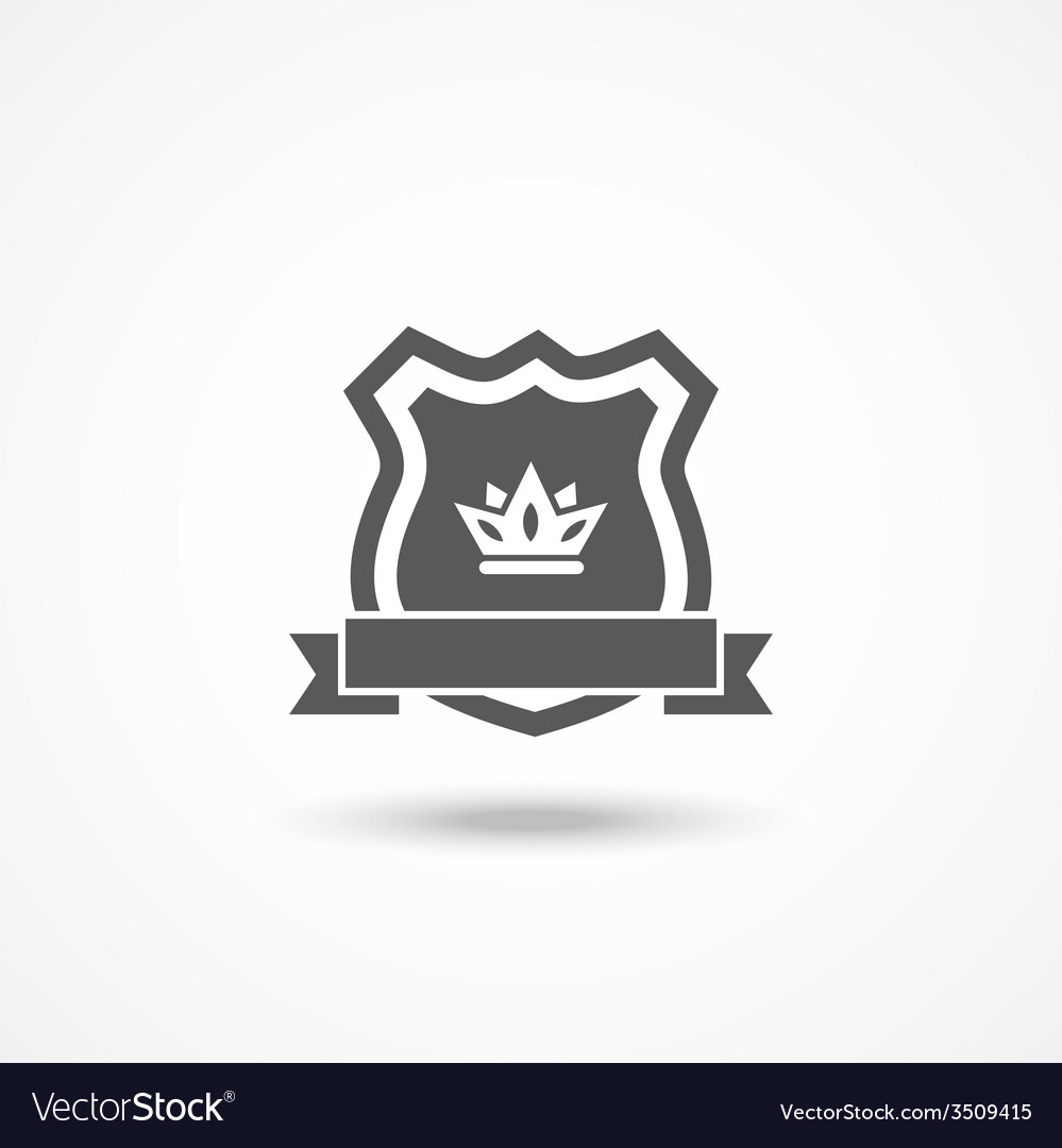 Shield icon with ribbon and crown vector | Price: 1 Credit (USD $1)