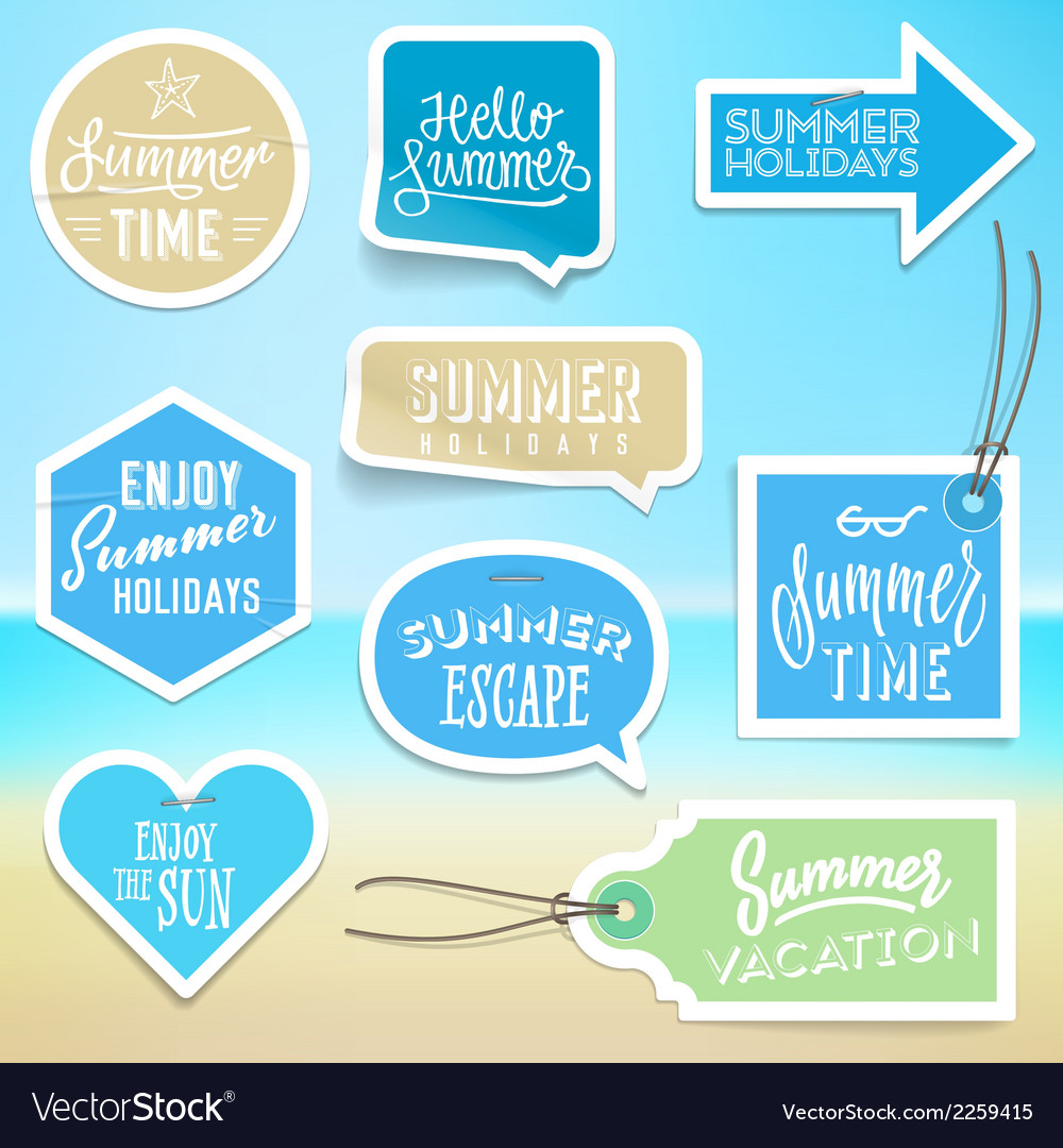 Summer holiday vacation stickers and labels vector | Price: 1 Credit (USD $1)