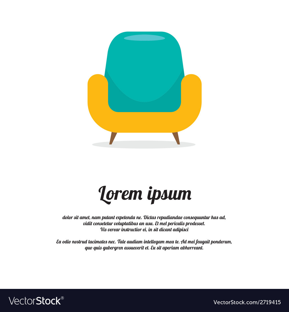 Vintage colorful sofa vector | Price: 1 Credit (USD $1)