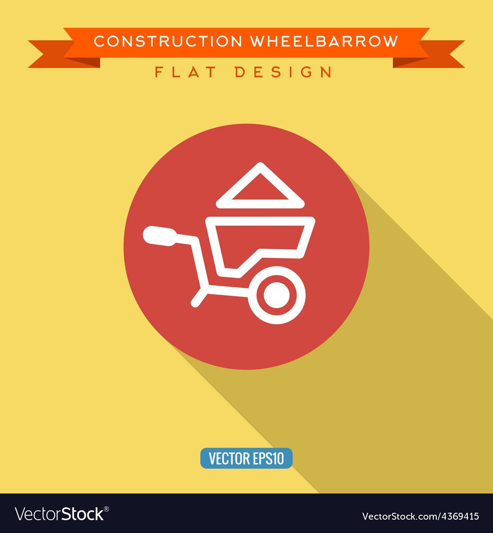 Wheelbarrow full of sand into flat style vector