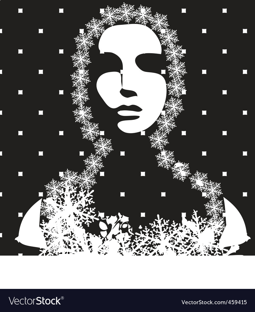 Winter portrait black and white vector | Price: 1 Credit (USD $1)