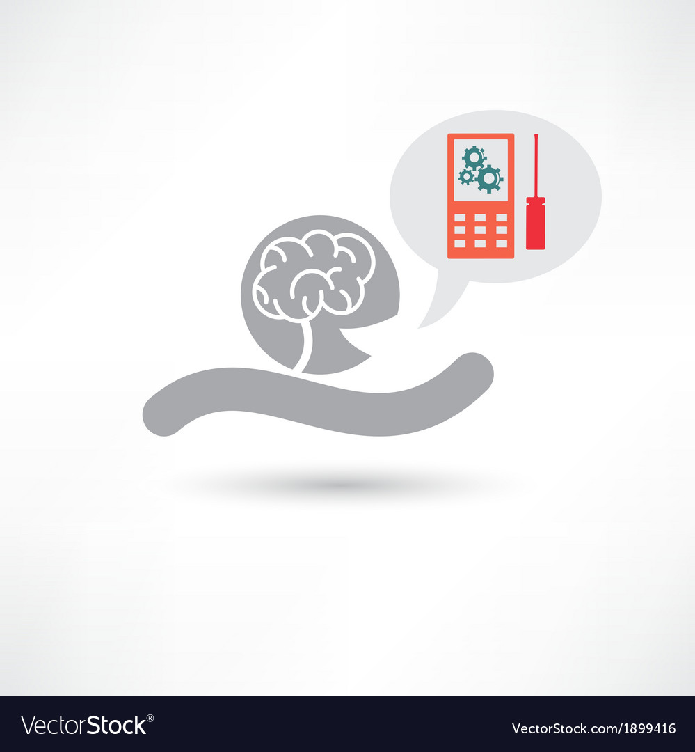 Brain and cellphone icon vector | Price: 1 Credit (USD $1)
