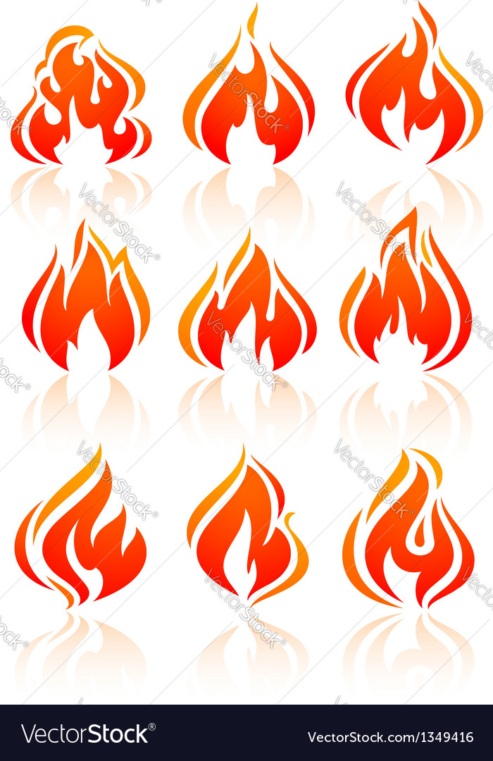 Fire flames set red icons vector | Price: 1 Credit (USD $1)