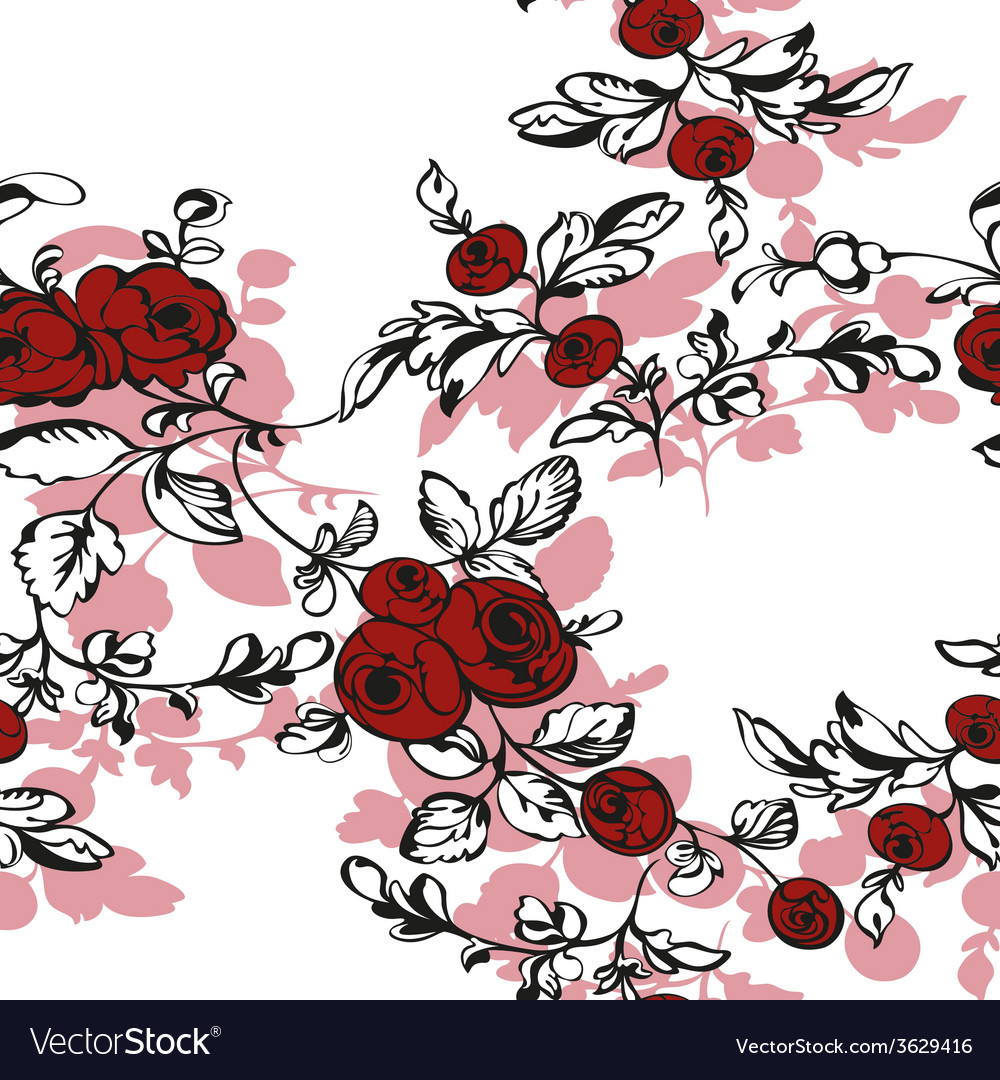 Floral seamless rose shadow vector | Price: 1 Credit (USD $1)