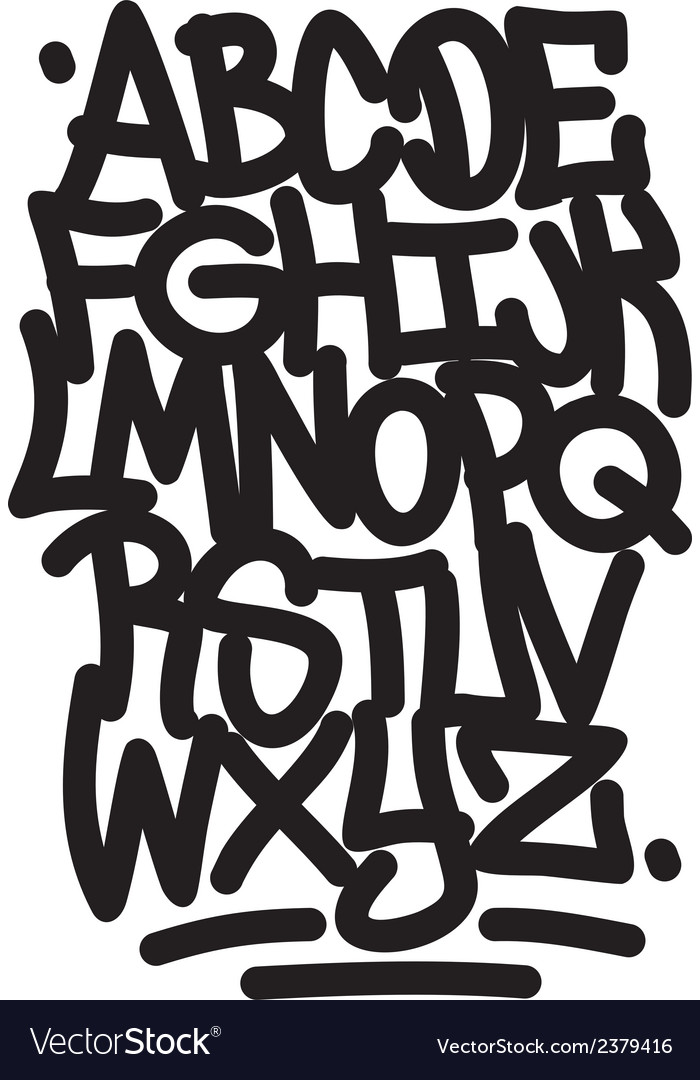 Hand written graffiti font alphabet vector | Price: 1 Credit (USD $1)