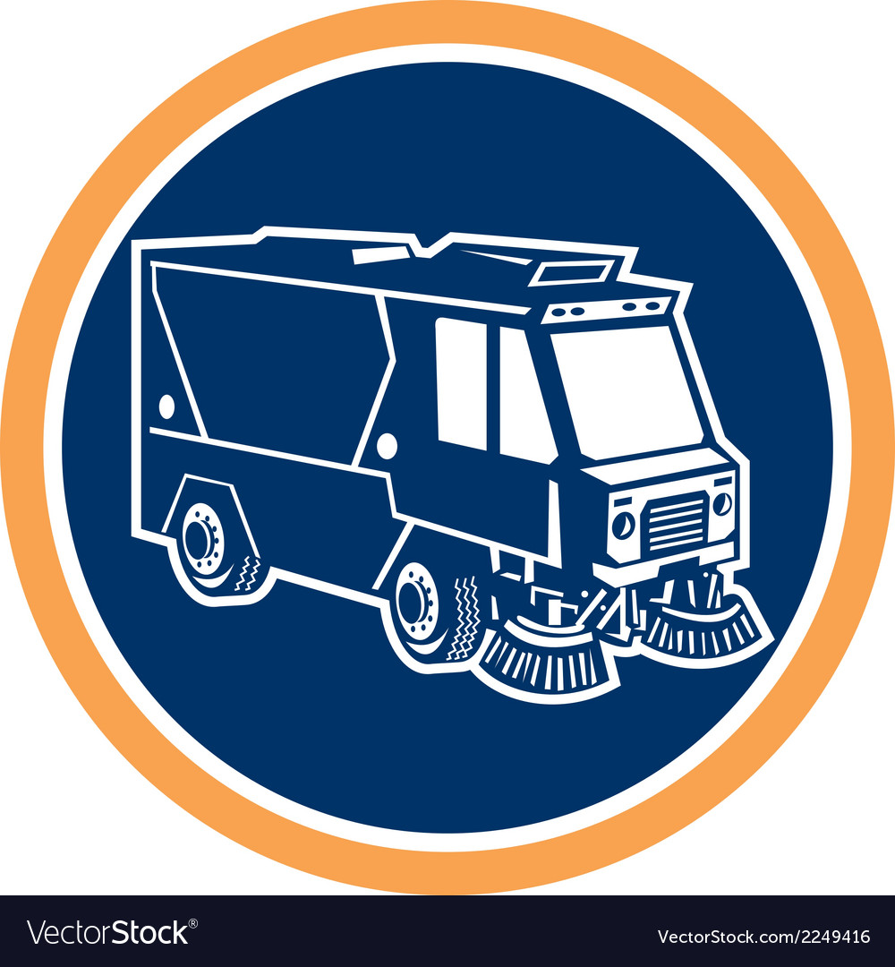 Street cleaner truck circle retro vector | Price: 1 Credit (USD $1)