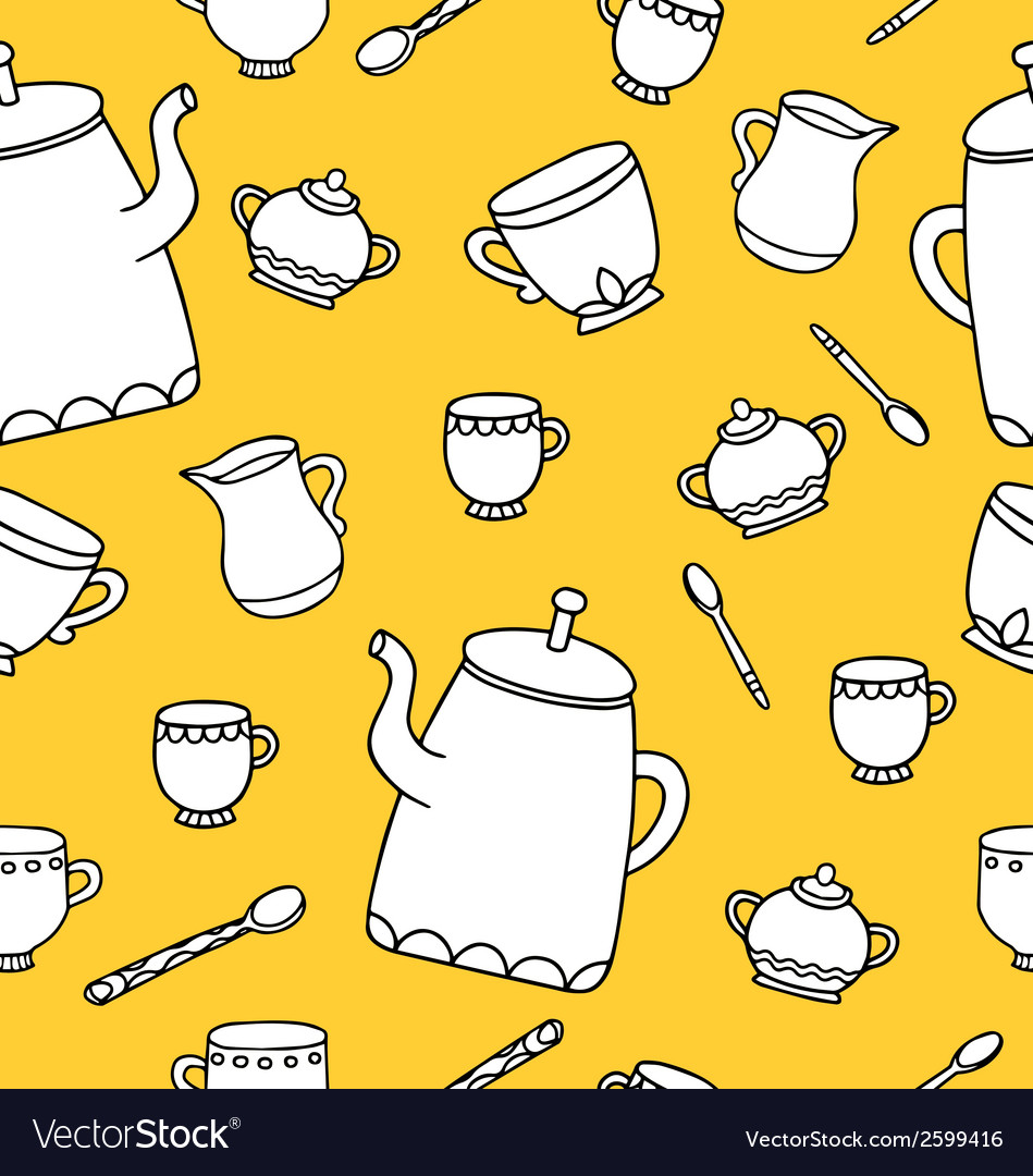 Tea time pattern vector | Price: 1 Credit (USD $1)