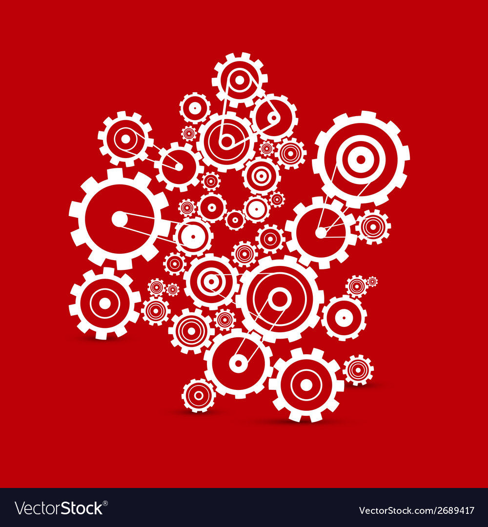 Abstract white cogs  gears on red background vector