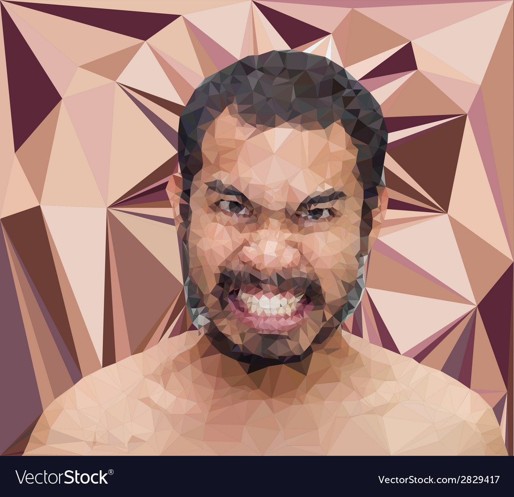 Angry man face in triangular stlye vector | Price: 1 Credit (USD $1)