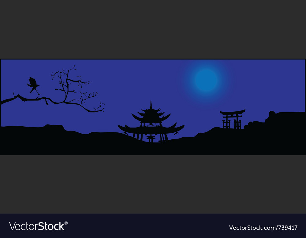 Asian night silhouette vector | Price: 1 Credit (USD $1)