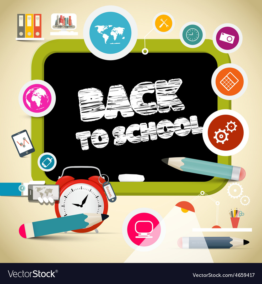 Back to school title on black board with education vector | Price: 1 Credit (USD $1)