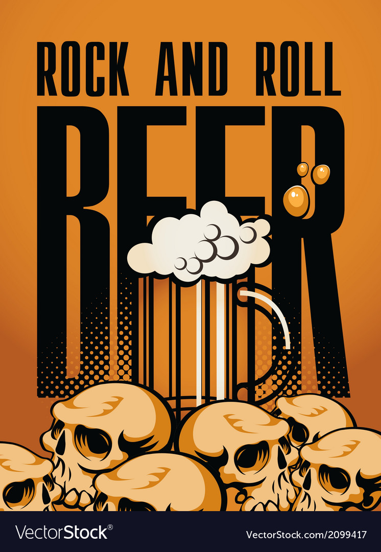 Beer and rock n roll vector | Price: 1 Credit (USD $1)