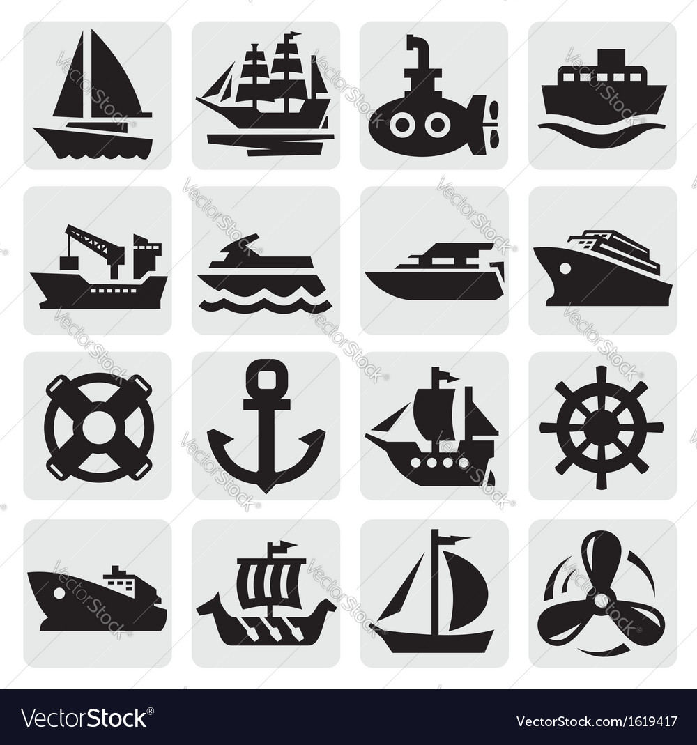 Boat and ship icons set vector | Price: 1 Credit (USD $1)