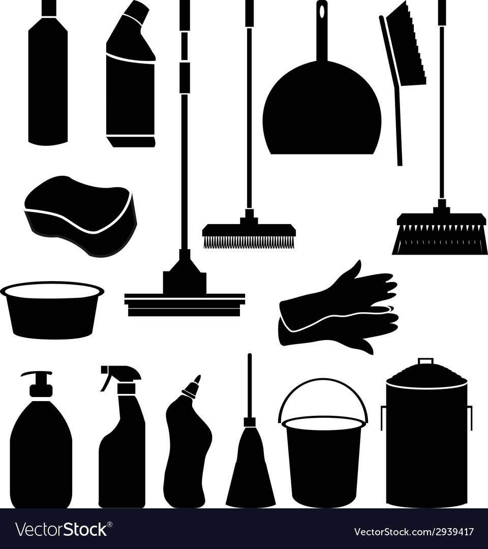 Cleaning tools icons vector | Price: 1 Credit (USD $1)