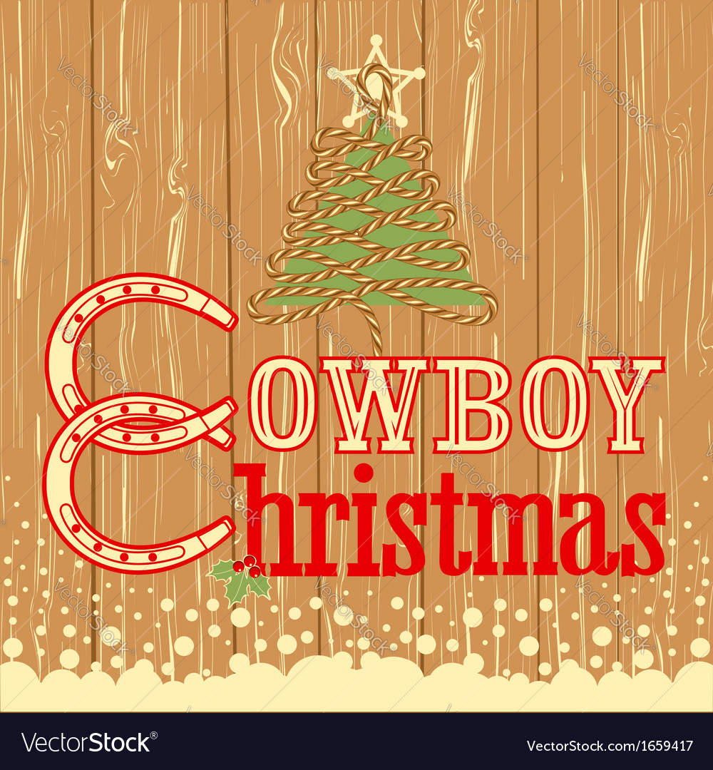 Cowboy christmas card with decor rope tree vector | Price: 1 Credit (USD $1)
