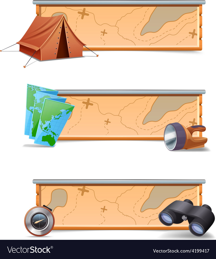 Hiking banners horizontal vector | Price: 1 Credit (USD $1)