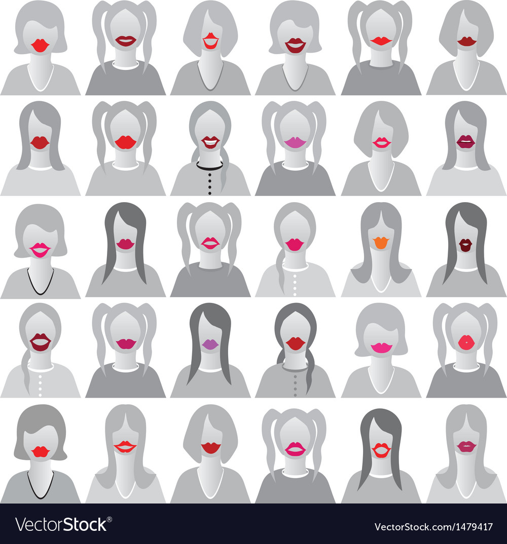 Lip smile set icons vector | Price: 1 Credit (USD $1)