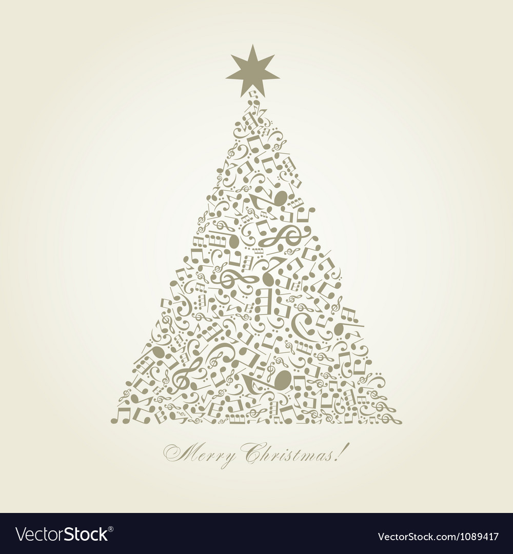 Musical christmas tree vector | Price: 1 Credit (USD $1)