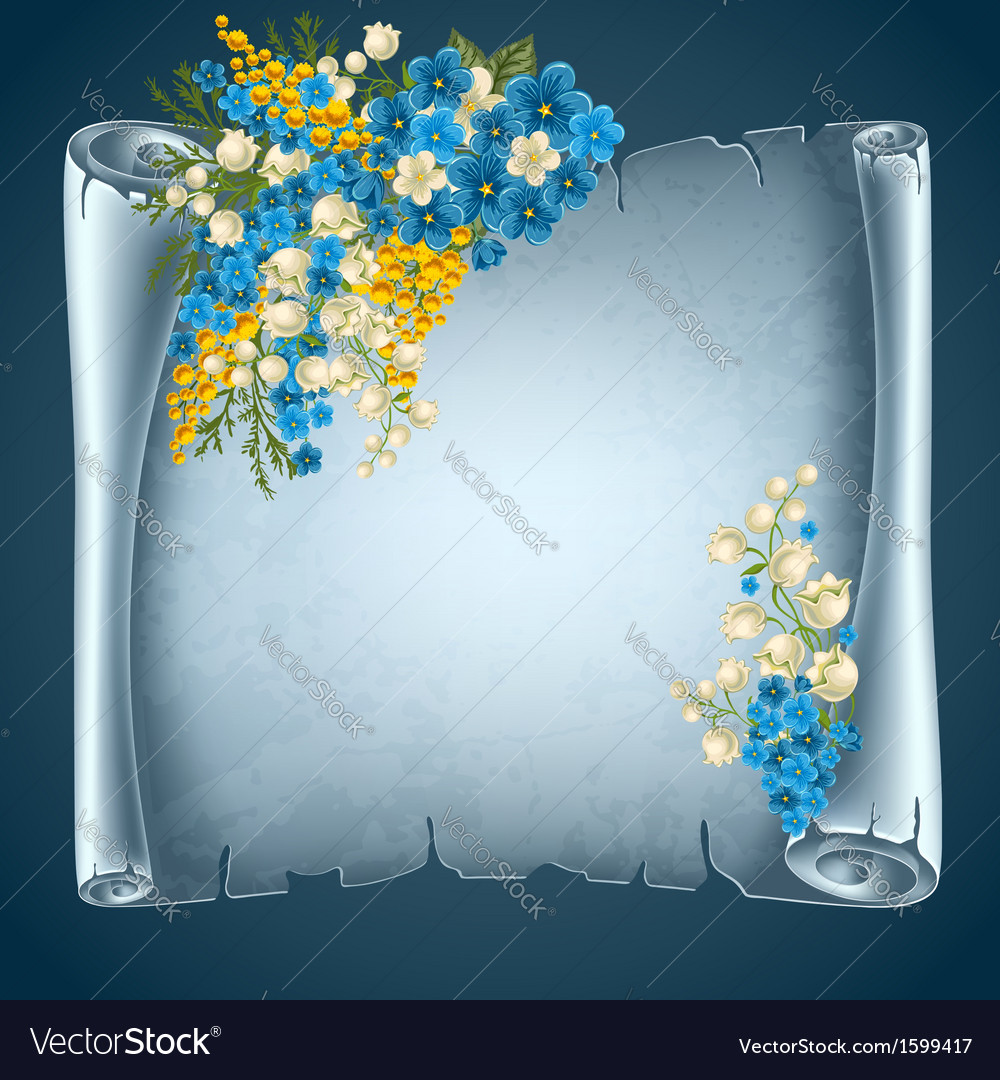 Old paper with flowers vector | Price: 1 Credit (USD $1)