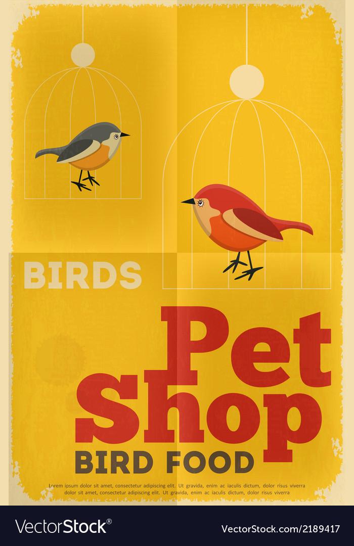 Pet shop poster bird vector | Price: 1 Credit (USD $1)