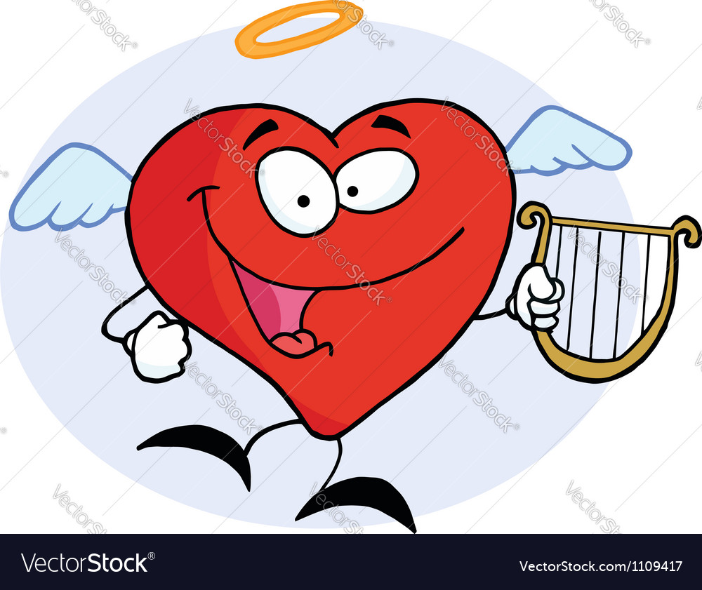 Red heart angel character flying with a lyre vector