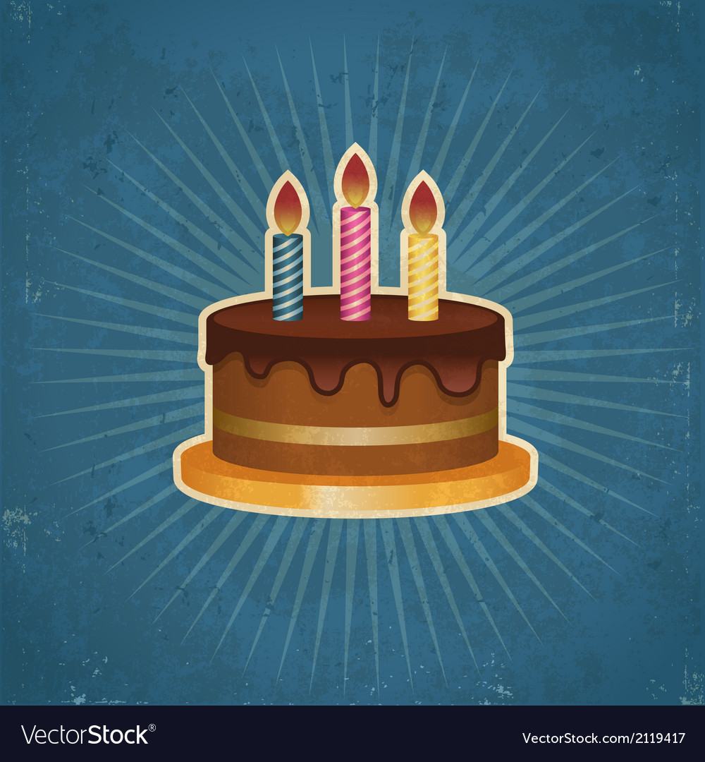 Retro birthday cake vector | Price: 1 Credit (USD $1)