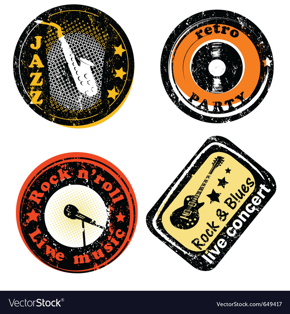 Retro stamps for music vector | Price: 1 Credit (USD $1)