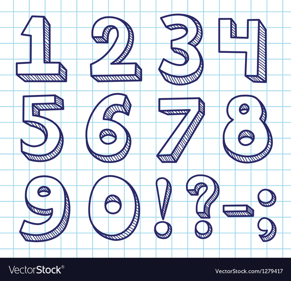 Scribble numbers vector | Price: 1 Credit (USD $1)