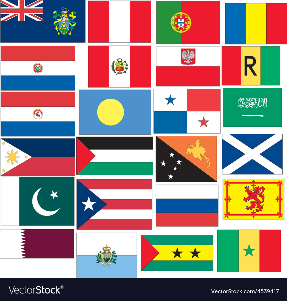 Set of 24 flags countries started with p q r s vector | Price: 1 Credit (USD $1)